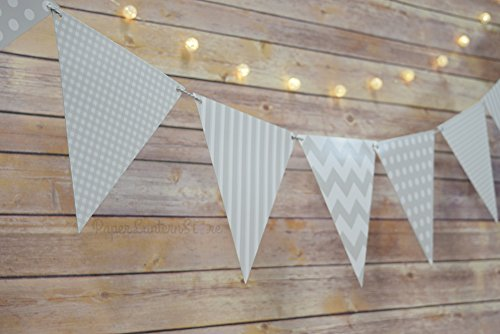 Quasimoon Gray / Grey Mix Pattern Triangle Flag Pennant Banner Decoration (11FT) by PaperLanternStore (Pennant Grey)