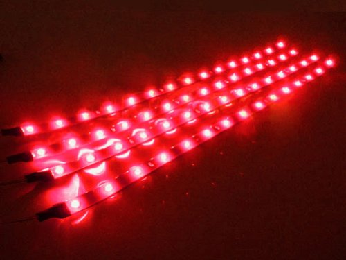2 pcs 30cm 15 3828 SMD Red PVC Car Vehicle LED Strip Flexible Light Strip Light 12V Waterproof - Ideal to use for car,motorcycle,boat,DIY lighting decoration of home, hotel, club, shopping mall;Extensively applied in backlighting, concealed lighting, channel letter lighting