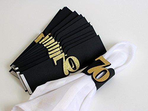 All About Details Black & Gold 70 Napkin Holders, Set of 12