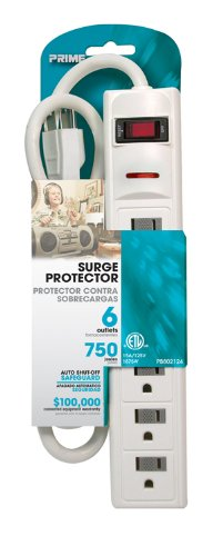 Prime PB802124 6 Outlet 750 Joule Surge Protector, 3-foot cord, White