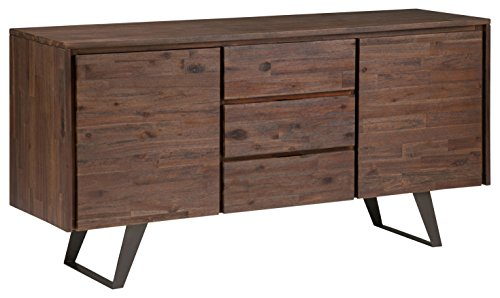 Simpli Home AXCLRY-10 Lowry Solid Acacia Wood and Metal 60 inch wide  Modern Industrial Sideboard Buffet in Distressed Charcoal Brown (Metal Sideboard Buffet)