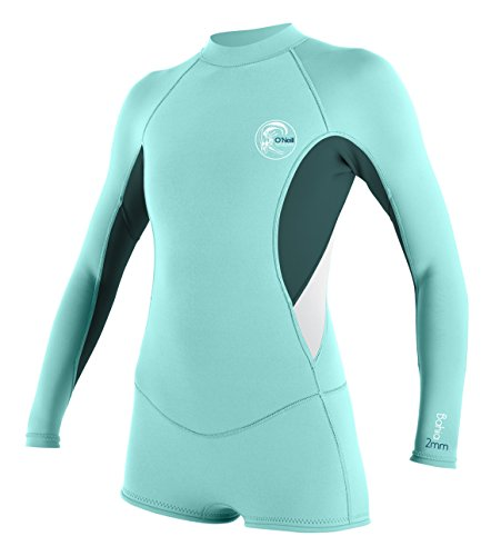 O'Neill Wetsuits Womens 2/1 mm Bahia Long Sleeve Spring Wetsuit, Seaglass/Deep Teal/White, 4