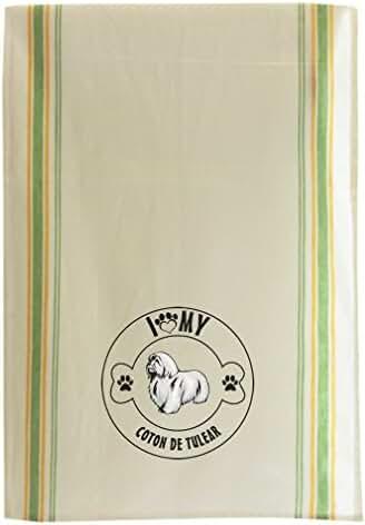COTON DE TULEAR DOG I LOVE PAW MY Cotton Retro Stripe Dish Kitchen Towel Green Stripe