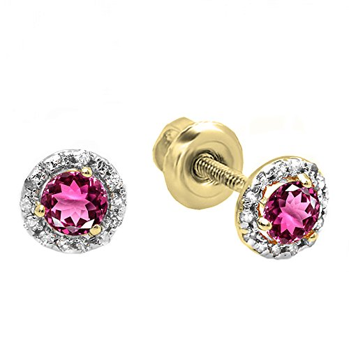 Dazzlingrock Collection 18K 4 MM Each Round Round Pink Tourmaline & White Diamond Halo Stud Earrings, Yellow Gold ()