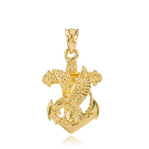 American Heroes 14k Yellow Gold Navy Eagle Anchor Pendant