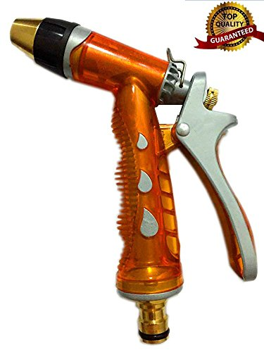 NLG® Garden Hose Nozzle, High Pressure, Heavy Duty Metal, Hand Sprayer. Suitable for Car & Pet Washing, Cleaning, Watering Lawn and Garden. Full Guarantee (Orange)