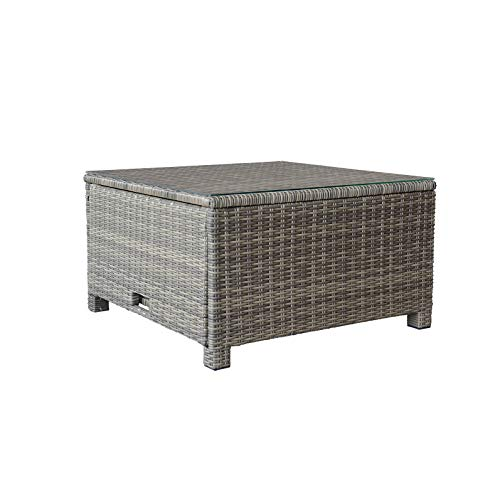 (ORNO TTOBE Outdoor Patio Wicker Coffee Table with Storage Funtion,Square)