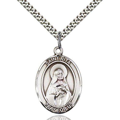 Sterling Silver Men's Patron Saint Medal of ST. RITA / Baseball - Includes 24 Inch Heavy Curb Chain - Deluxe Gift Box Included