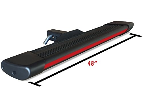 Broadfeet R66 Black Hitch step 6″ Flat 48″ Long W/Red LED Light For 2″ Receiver