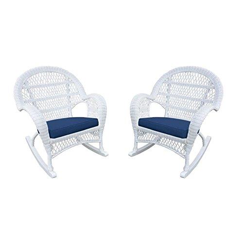 Jeco W00209-R_2-FS011-CS Wicker Rocker Chair with Blue Cushion, Set of 2, White
