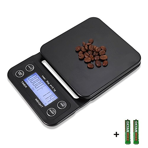 bemece Digital Kitchen Scale Drip Coffee Scale with Timer, 3 kg/0.1 g Kitchen Food Scale with Tare Function, Batteries Included (Blue)