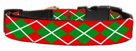 Mirage Pet Products Christmas Argyle Nylon Ribbon Collar, Medium