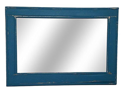 Coral Rectangular Mirror - Herringbone Large Mirror 42 x 30 Horizontal Mirror Painted in Coral Blue - Reclaimed Wood Mirror - Large Wall Mirror - Rustic Modern Home - Home Decor - Mirror - Housewares by Renewed Decor