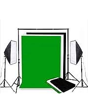 مجموعة إضاءة شاشة ناعمة باللون الأبيض والأسود والأخضر