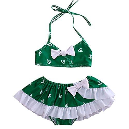 ONE'S 3PCS Infant Baby Girls Green Arrow Design Swimsuit Beach Bikini With Skirt Set (6-12 Months, (Green Arrow Suit)