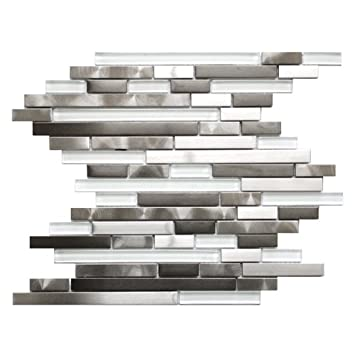 Modern Random Mix Steel Glass Ii Stainless Steel And Glass Mixed Metal Tile