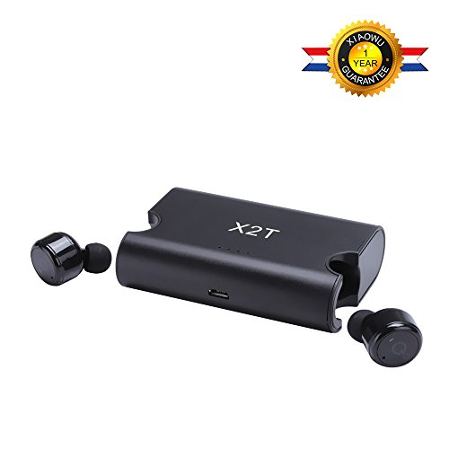 XIAOWU Mini Wireless Bluetooth Headphones Noise Cancelling and True Wireless Bluetooth V4.2 for ipod Wireless Earbuds Stereo Surround Sound Headset Earphone (Black-X2T)