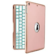 New iPad 2017 Keyboard Case, iEGrow New F8S 7 Colors LED Backlit iPad Keyboard with Protective Case Cover for iPad 5th Generation and iPad Air(Rose Gold)