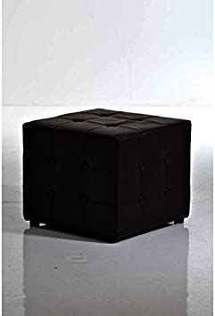 Blanco CLP Taburete Otomana Cubic en Cuero PU I Taburete Reposapi/és Base de Madera I Taburete Bajo con Altura de 38 cm I Otomana Acolchada I Color