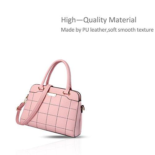 NICOLE&DORIS Nuevo Bolsos de Mano Totes para Mujer Monederos Mujer Bolsos Commuter Bandolera Impermeable Durable PU Azul Claro Rosa Claro
