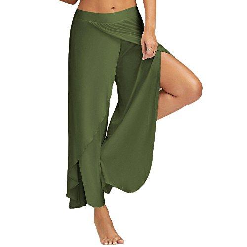 ZEFOTIM Sexy Waist Wide Leg Flowy Pants Women Casual Summer Long Loose Yoga Pants (3XL,Army Green)