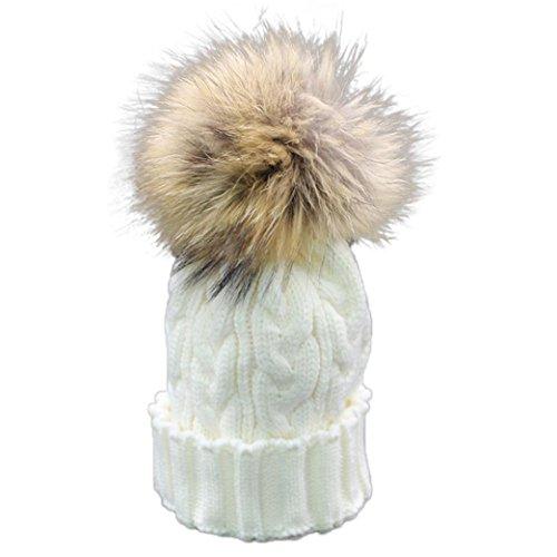 Bébé Ans Hiver Laine Beanie Pour Chapeau Chaud 1 Crochet Fourrure Bébé Blanc 4 Cap Amlaiworld Knit qSIxt