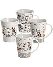 SPOTTED DOG GIFT COMPANY Mokken Set 4 Hond Mok Dier Koffiemokken Koffiekopjes voor Thee of Koffie met Honden, Cadeau voor Hondenliefhebber en Dierenliefhebbers