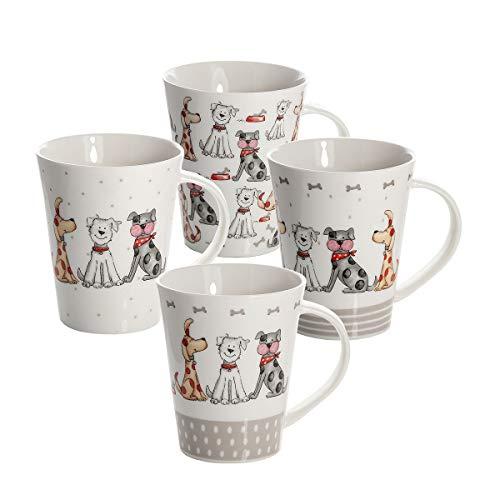 Juego 4 tazas de desayuno de caramica porcelana para cafe te, grandes decorativas diseno de perro animales regalo