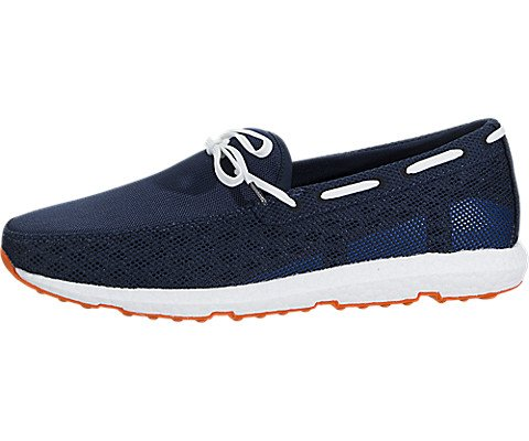 SWIMS Men's Breeze Leap Laser Loafers, Navy/White/Orange, 10 M US by SWIMS