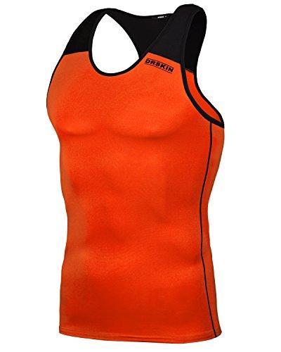 DRSKIN Undershirts Running Shirt Tank Tops Men's Cool Dry Compression Baselayer Sleeveless (Manggo LO-B07 S)