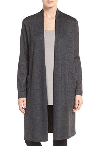 Eileen Fisher Petite Sweater - Eileen Fisher Sleek Heathered 100% Wool Jersey Long Kimono Cardigan (Petite) (PP (Petite Plus))