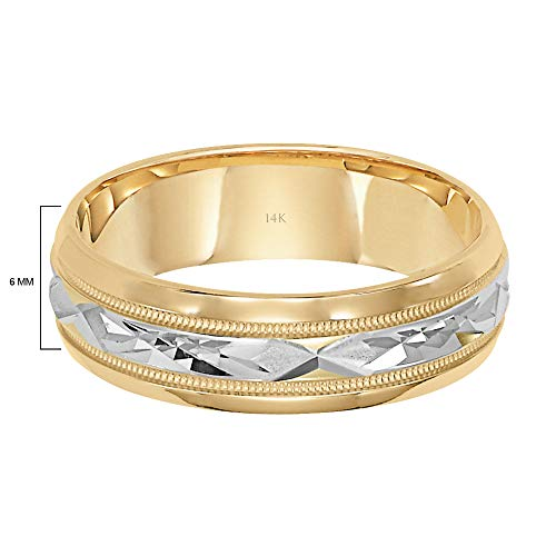 Brilliant Expressions 14K Yellow Gold Comfort Fit Wedding Band with White Gold Diamond Cut Details, 6mm, Size 10.5 by Brilliant Expressions (Image #3)