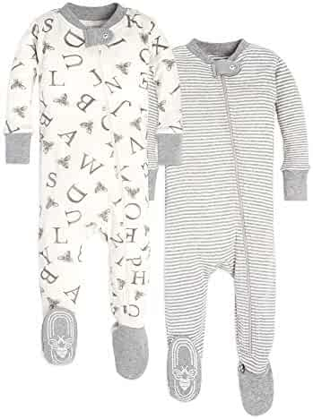 Burt's Bees Baby Baby Boy's Unisex Pajamas, Zip-Front Non-Slip Footed Sleeper PJs, Organic Cotton