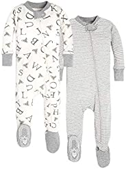 Burt's Bees Unisex-Baby Pajamas, Set of 2, Zip Front Non-Slip Footed Sleeper Pjs, 100% Organic Co