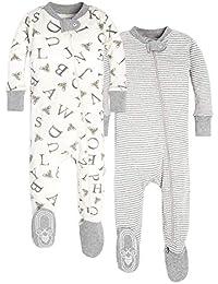 Unisex Baby Sleeper Pajamas, Zip Front Non-Slip Footed Sleeper PJs, 100% Organic Cotton