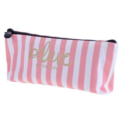 Fresh Canvas Student Pencil Case Makeup Pouch Cosmetic Pencil Storage Bag (Color - Diagonal Stripe)