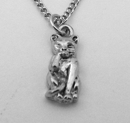 Child's Pewter Cat Licking Paw Charm on Silver Tone Link Chain Necklace - 5173 for Jewelry Making Bracelet Necklace DIY Crafts
