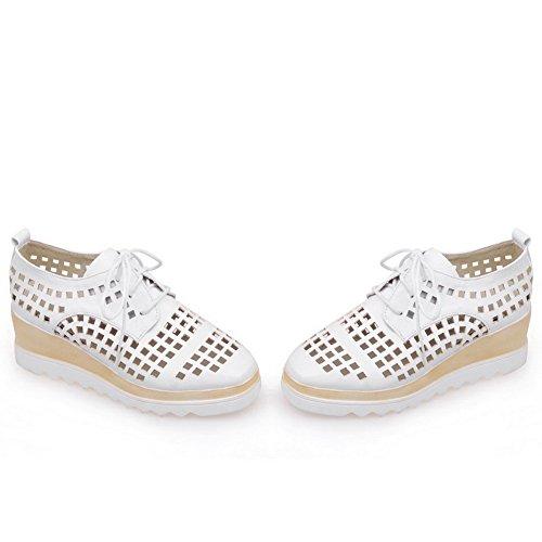Amoonyfashion Mujeres Square Cerrado Puntera Lace Up Blend Materials Kitten Heels Bombas-zapatos Blanco