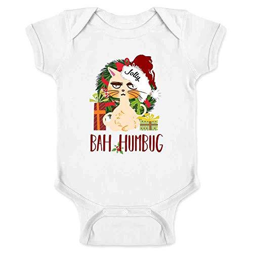 Bah Humbug Cat Christmas Funny White 24M Infant Bodysuit