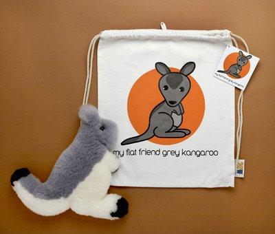 Flat Friends GKANLD Grey Kangaroo Lambskin Soft Toy & Drawstring Bag