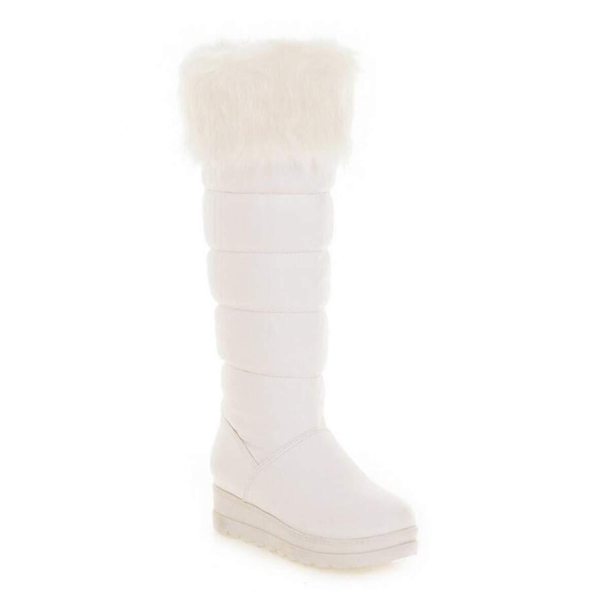 DANDANJIE Mädchen Winterstiefel Mode warme Schneeschuhe Damen weiche Wadenschuhe (Schwarz Weiß) Weiß 34EU
