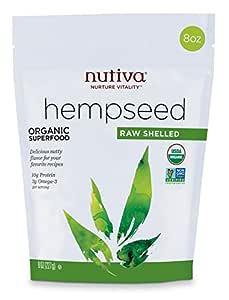 Nutiva Organic Raw Shelled Hempseed from non-GMO, Sustainably Framed Canadian Hemp, 8 Ounce (NCN202)