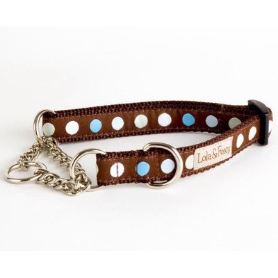 "Blueberry Truffle Blue/Brown Martingale Dog Collar Size: 3/4"" Medium"