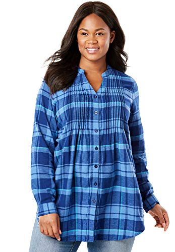 - Woman Within Women's Plus Size Pintucked Flannel Shirt - Dusty Indigo Plaid, M