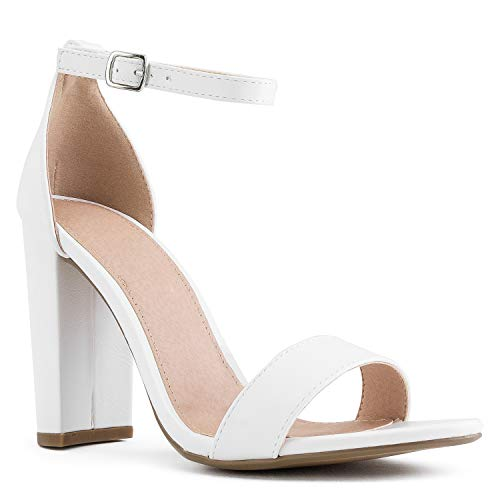 (RF ROOM OF FASHION Single Sole Ankle Strap Chunky Heel Dress Pumps Sandals White Size.8.5)