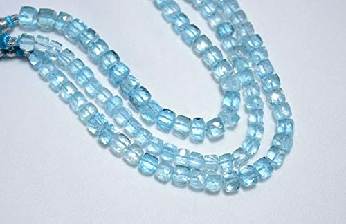GemAbyss Beads Gemstone Blue Topaz Beads, Blue Topaz Faceted Box Beads, Gemstone for Jewelry, 6mm Cut Box Beads, 3.5 Inch Strand ()