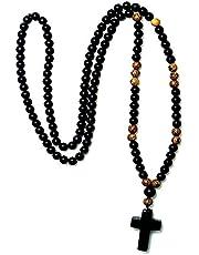 GOSOU Healing Crystal 6mm zwarte steen hout kralen met zwarte stenen kruis hanger heren rozenkrans ketting heren mala sieraden