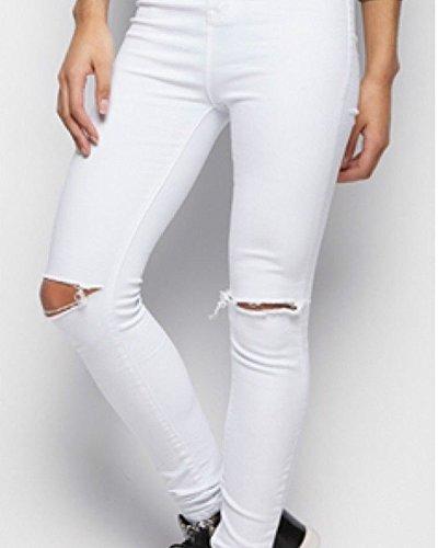 Kasen Femme Denim Jeans Leggings Blanc Dchirs Taille Collant Slim Crayon Pantalons Haute ffRqUxrO