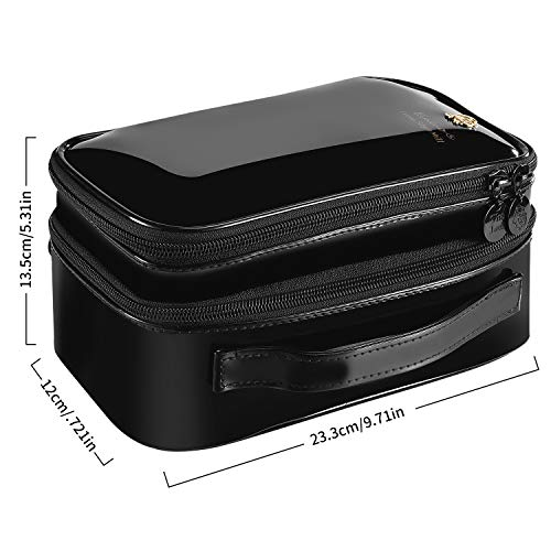 Viridian Mist Makeup Bag, Travel Cosmetic Bag for Women Girls, with Brushes Compartment, Zipper Pouch, Multifunctional Travel Organizer, 2 Layer, Shiny Black