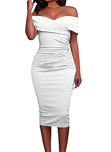Alvaq Womens Ruched Shoulder Bodycon
